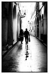 Loving couple. (jtokarz2003) Tags: spain minorca street silhouette blackandwhite