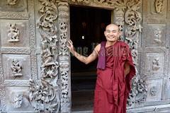 30099864 (wolfgangkaehler) Tags: 2017 asia asian southeastasia myanmar burma burmese mandalay mandalayhill shwenandawmonastery goldenpalacemonastery buddhist buddhistart buddhistartwork buddhistmonasteries buddhistmonastery buddhisttemple buddhisttemples teakwood teak woodenarchitecture woodencarving people person posing buddhistmonk man