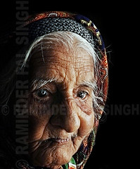 Granny (Raminder Pal Singh) Tags: old portrait face eyes thought grandmother expression think age thinking dreamy granny wrinkles visage headgear theface thepca