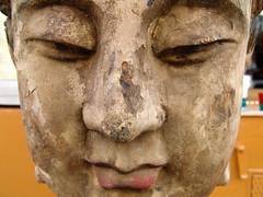 weathered buddhaface (piktorio) Tags: sculpture india berlin monochrome face statue kreuzberg germany sandstone buddha offshore historical weathered monocromatico