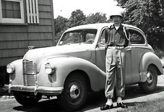 Drum Corps and Cars (jamu98765) Tags: 1948 me car automobile uniform massachusetts driveway 1950s beverly drumcorps beverlyma drumbuglecorps austina40 stmaryscrusaders austina40dorset