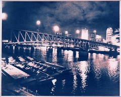 Pittsburgh at Night #4 (becklectic) Tags: night iron pittsburgh bridges negativespace 100 cyanotype gumbichromate altprocess youghighenyriver nonsilver worldtrekker