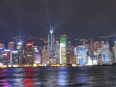 Light show at night from TST (Tanya in BNE) Tags: hk night buildings cards hongkong lights interestingness harbour sightseeing tourist moo printing boob lightshow visits canonpowershotpro1 gsvisit topphotoblog moocards