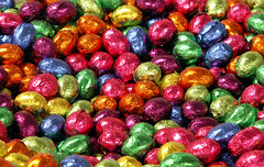 They Taste Even Better Than They Look! (Sister72) Tags: pink blue red orange green colors easter tin gold yummy aluminum colorful purple candy sweet chocolate foil treats sugar delicious eggs sweets 200views sister72 1025favs eastereggs happyeaster ilovechocolate oldmonmouthpeanutbrittle eastergreetings
