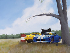 """""""Someday"""" (Jerub Baal) Tags: blue art abandoned grass car yellow rural painting death woods acrylic spirit decay apocalypse dream surreal icon faded dodge surrealist viper ruraldecay dilapidated iconoclast mortality yourmasterpaintings"""