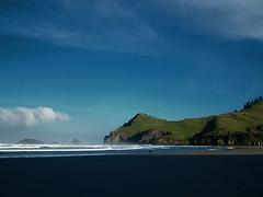 Three Rocks (Blue~Canoe) Tags: ocean blue sky green beach oregon sand waves oregoncoast cascadehead