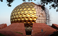 Auroville: Under Construction (premasagar) Tags: india architecture circle temple gold globe construction scaffolding spots dome zoomzoom underconstruction tamilnadu auroville geodesicdome matrimandir assignment2 sharedurbanspace
