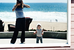 me and the kid (sesame ellis) Tags: selfportrait reflection beach me window girl walking mirrorproject toddler mykid year2