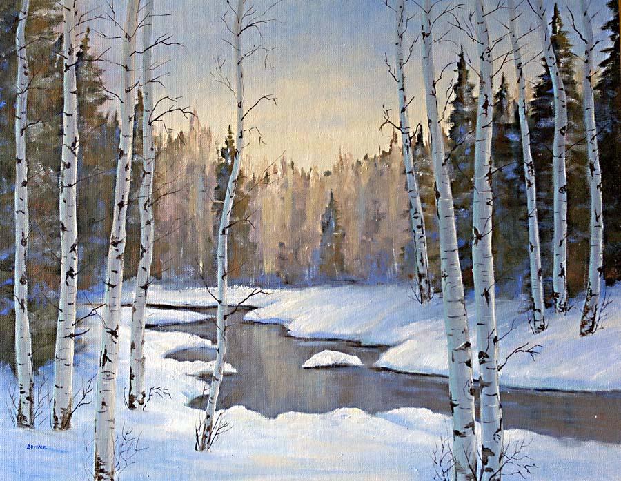 artist: <ARTIST_NAME_META> <ALT_TAGS> Winter Aspen Oil Painting
