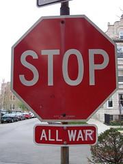 Stop all war (soma _) Tags: stickerart chicagostreetart stopallwar