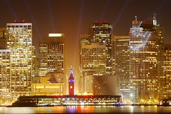 Here's To 100 More Years (vonvonvon) Tags: sanfrancisco california building ferry skyline night buildings lights bravo san francisco skyscrapers ferrybuilding 1906centennial