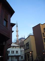 Sultanahmet Camii (Blue Mosque) espied among twisting streets... (birdfarm) Tags: türkiye istanbul ottoman İstanbul tukey ottomanarchitecture mosqu ottomanempire