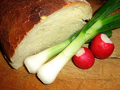 Bread and vegetables (Milica Sekulic) Tags: red food green nature vegetables bread radishes colorful natural serbia fresh meal onion radish luk srbija hleb serbian crni hrana rotkvice obrok