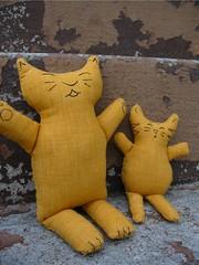 Big and Mini Kitties by KnitOwl (Rhelynn) Tags: animal cat mos toy stuffed kitten doll soft handmade sewing kitty softie softies kawaii handsewn sewn imadeitmyself