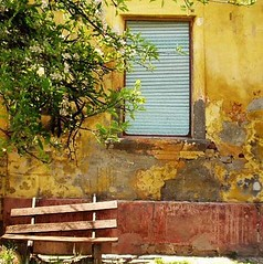 Yellow Love, Serbia (Aleksandra Radonic) Tags: old abstract rural bench village time serbia nopeople oldhouse kosova kosovo nopeople1 vojvodina srbija globalism begej kozjak ferdin begec