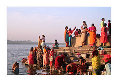 Getting ready - BENARES (Elishams) Tags: city red india river women bath colours indian traditional faith religion culture holy devotion varanasi ritual dailylife indianarchive hinduism kashi ganga ganges rituals ghats banaras maa benares ghat northindia gange uttarpradesh  indedunord 50millionmissing