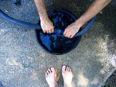 The Old-Fashioned Way (Blue Dragonfly Girl) Tags: feet tag3 taggedout austin concrete hands backyard tag2 texas afternoon tag1 saturday fixingaflattire lookingforleaks feelinguselessbecauseidontknowhowtofixaflatmyself soinsteadidocumenttheoccasion