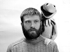 It's not easy being black and white. (lancewebel) Tags: blackandwhite apple beard muppets whiskerino lance recreation whiskerino2005 kermit imitation thinkdifferent kermitthefrog jimhenson webel lancewebel