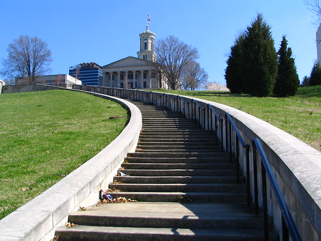 The curving steps to the Capitol