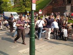 Protesters forimng... (mi...) Tags: gay lesbian march krakow nationalist equality skinhead skinheads nationalists