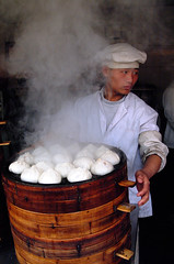 Shanghai market (Robert Lio) Tags: china food shanghai market cook steamed dumplings streetfood youngboy twtmeblogged