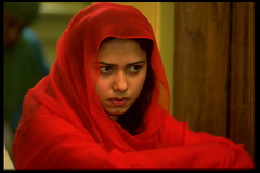 In Prayer (jetrotz) Tags: red portrait woman film veiled screensaver muslim headscarf mosque muslimah savannah portfolio