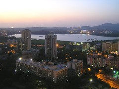 Dusk falls on Powai lake