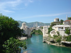 Mostar bridge (danpea) Tags: travel bridge summer green river landscape mostar bosnia mosque herzegovina balkans easterneurope reconstruction rebuilt bih greenwater danpea danielpeacock