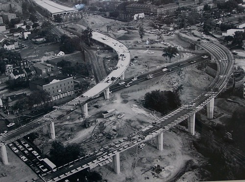 SE-SW Freeway under construction near the Marine Barracks, 1971
