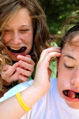 Don't lose it! (lancewebel) Tags: summer camp portrait people smiling kids laughing portraits fun outdoors hilarious stuffed funny eating joy lance stuff grapes summercamp campers pvm webel lancewebel pleasantvineyard