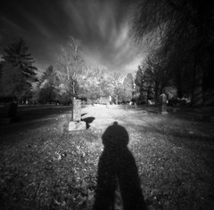 Lone Fir (Zeb Andrews) Tags: bw beautiful oregon 1025fav wow wonderful square portland cool nice interesting fantastic shadows lovely1 awesome cemetaries great 100v10f pinhole infrared incredible zeroimage zero66 bluemooncamera zebandrews zebandrewsphotography
