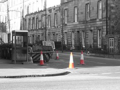 Traffic Cones Orange (jceddy) Tags: uk orange color art scotland edinburgh with 2006 nothing naranja trafficcones cones selectivecolorization rhymes selectivecolourisation blorenge rhymeswithorange netneutrality matters2me