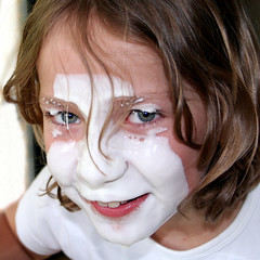 red lips blue eyes (beta karel) Tags: portrait white girl smile fun child desert yoghurt betakarel