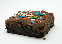 Chocolate, Anyone? (Mary T.) Tags: 15fav food beautiful dessert yummy chocolate great sprinkles sweets icing brownie 200views frosting