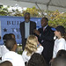 Bill Russell and Harry E. Johnson, Sr. speak to the Washington, DC Girls and Boys Club youth.