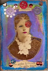 close up of atc assemblage a few pics away (Bellah) Tags: art atc collage altered mixed media mail books swaps atcs journals zettiology alteredcabinetcard bellah gabriellatravaline alteredcartedevisites