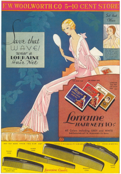 """""""Lorraine Hair Nets"""" ad, 1932"""
