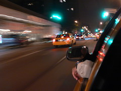 Racing up Columbus Ave in a yellow cab - P1030535