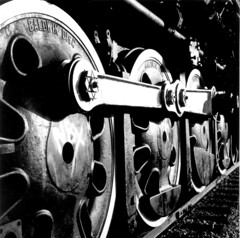 Driving Wheels of the Frisco 4500 (Wade From Oklahoma) Tags: railroad blackandwhite bw film oklahoma mediumformat shadows wheels trains apex tulsa thebest locomotives steamtrain 484 steamlocomotives passionphotography friscorailroad slsf wadefromoklahoma wadeharris
