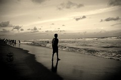 Boy on the beach,Bay of Bengal. (lecercle) Tags: life sea people india beach waters orissa puri bayofbengal bluelistr
