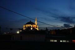 Aşk - Love of God (Marchnwe) Tags: blue sky cloud lines night clouds wire türkiye turkiye istanbul mosque İstanbul camii aksaray