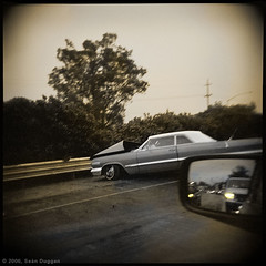 Wreck on the Highway (Sen Duggan (aka f/1.4)) Tags: film sepia mediumformat square holga highway accident freeway hood sideviewmirror guardrail wreck toned tinted carwreck crumpled rubbernecking perilsof moderntransportation