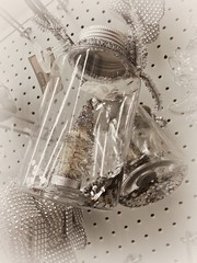 Where I Keep My Memories (Corgibird) Tags: nostalgia holidays christmas fesitvus bw sepia glass shinythings reflections refraction ornaments christmastrees jars memories celebrations silver mixedmedia shopping walmart masonjar etsey whimsical whimsey fairies fantasy elves miniature