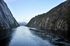 Trollfjorden (hilda_r) Tags: ocean travel sunset vacation mountain mountains nature water norway spring europa europe seasons year fjord various lofoten locations hurtigruten 2015 trollfjorden solvaertroms svolvrtroms
