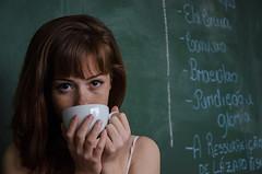 Girl and Blackboard (fabio.godoy) Tags: red black sexy green cup girl beauty female model eyes saopaulo board letters modelo workshop paulo sao coffe blackboard 500px ifttt elacrua httpfabiogodoynet