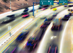 Rat Race (beelzebub2011) Tags: canada abstract cars vancouver britishcolumbia multipleexposure trucks transcanadahwy