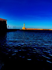 .  (janeric2014) Tags: blue lighthouse greece crete hania chania