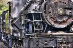 Heisler Steam Engine (Jerry Fornarotto) Tags: old railroad travel detail tourism water metal closeup train stream outdoor antique smoke watertower traintracks tracks engine rail stack wv westvirginia locomotive ironwork coal soot hdr antiquated cassrailroad jerryfornarotto