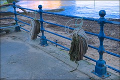 Rope Rails - HFF Everyone! (violetchicken977) Tags: fencedfriday hff staithes blue castiron rope