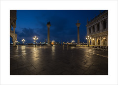 Before the tourists come (Explore 28/12/16 #64) (andyrousephotography) Tags: venice piazzasanmarco sangiorgiomaggiore columns lion sttheodore stmark lanterns starbursts early bluehour empty tourists storm rain wet andyrouse canon eos 5d mkiii